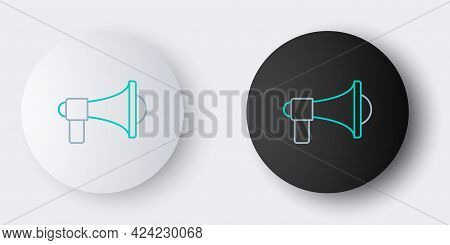 Line Megaphone Icon Isolated On Grey Background. Loud Speach Alert Concept. Bullhorn For Mouthpiece