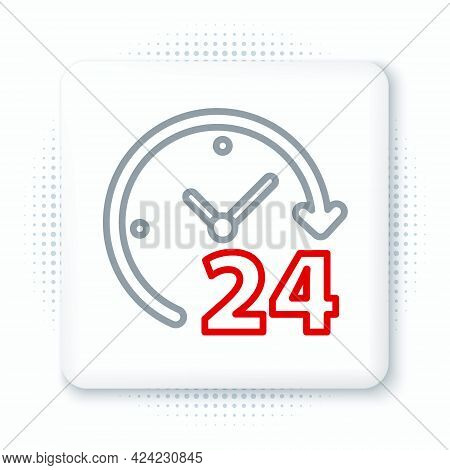 Line Clock 24 Hours Icon Isolated On White Background. All Day Cyclic Icon. 24 Hours Service Symbol.