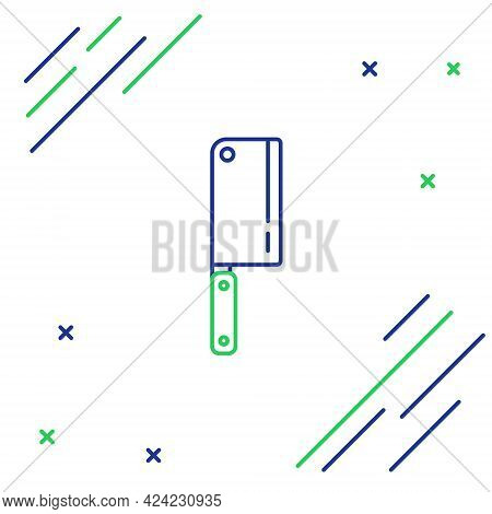 Line Meat Chopper Icon Isolated On White Background. Kitchen Knife For Meat. Butcher Knife. Colorful