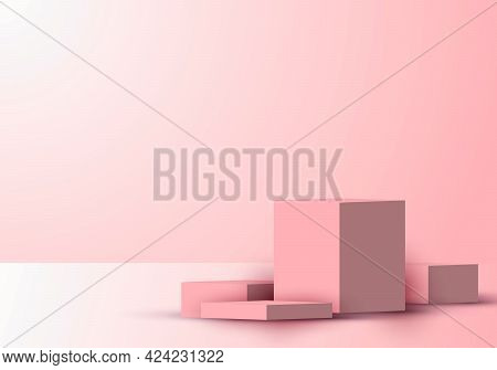 3d Realistic Cube Shape Podium Or Platform Product Display Showcase Pink Background With Lighting. Y