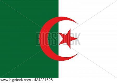 National Flag Of The Country Of Algeria. Flag Of The Algerian Peoples Democratic Republic. State Sym