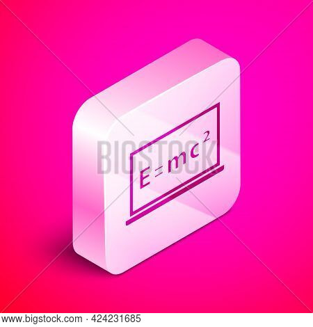 Isometric Math System Of Equation Solution On Chalkboard Icon Isolated On Pink Background. E Equals