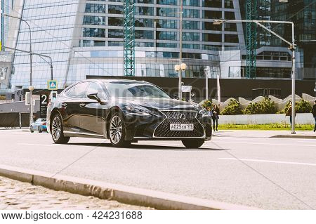 Moscow , Russia - May 2021: Lexus Ls 500 Xf50 At The City Road In Motion. Black Car Driving Along Th