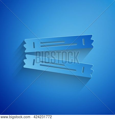 Paper Cut Sugar Stick Packets Icon Isolated On Blue Background. Blank Individual Package For Bulk Fo