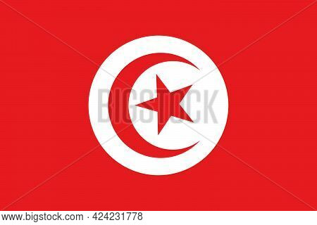 State Flag Of The Country Of Tunisia. State Flag Of The Tunisian Republic. State Symbol. National Ho