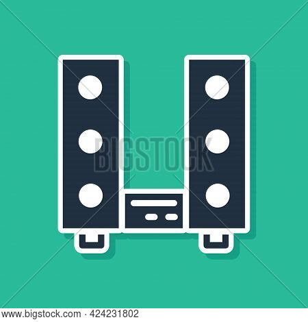 Blue Home Stereo With Two Speaker S Icon Isolated On Green Background. Music System. Vector