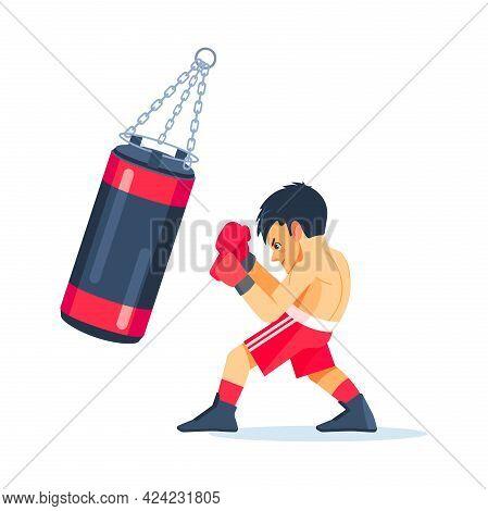 Boxing. Kids Sport Concept. Boy Sportsman Boxer Fighting In Gloves In Gym. Cartoon Vector Illustrati