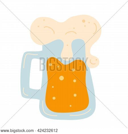 Beer Mug With Foam. Alcohol Drink. Frothy Tankard Of Golden Beer With A Good Head Of Froth Overflowi