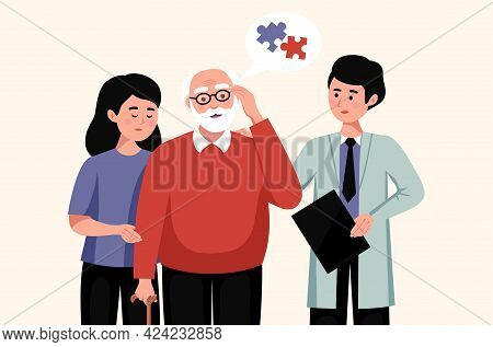 Confused Elderly Man Suffering From Alzheimer Disease His Relative And Doctor Flat Vector Illustrati