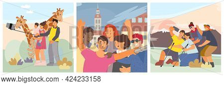 People Take Selfies Near Giraffes In Nature And While Traveling Flat Vector Illustration