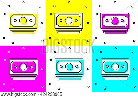 Set Stacks Paper Money Cash Icon Isolated On Color Background. Money Banknotes Stacks. Bill Currency