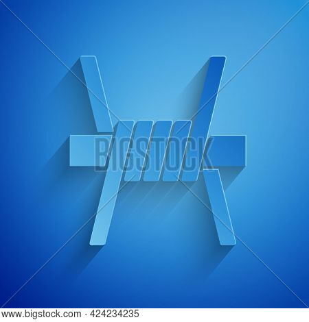 Paper Cut Barbed Wire Icon Isolated On Blue Background. Paper Art Style. Vector
