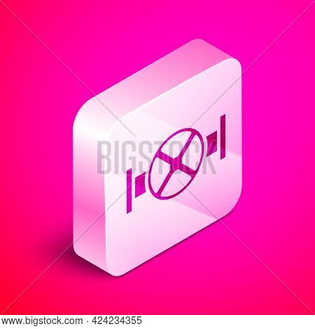 Isometric Industry Metallic Pipe And Valve Icon Isolated On Pink Background. Silver Square Button. V