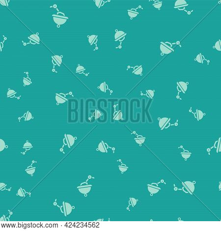 Green Waiter Robot With Covered Plate Icon Isolated Seamless Pattern On Green Background. Artificial