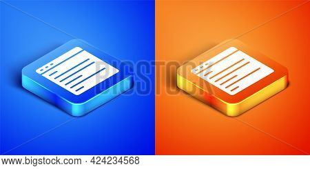 Isometric Computer Api Interface Icon Isolated On Blue And Orange Background. Application Programmin