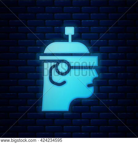 Glowing Neon Smart Glasses Mounted On Spectacles Icon Isolated On Brick Wall Background. Wearable El