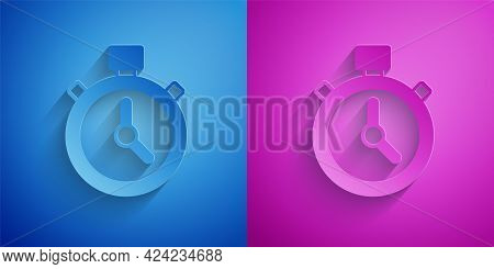 Paper Cut Stopwatch Icon Isolated On Blue And Purple Background. Time Timer Sign. Chronometer Sign.