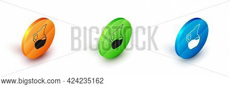 Isometric Milk Jug Or Pitcher Icon Isolated On White Background. Circle Button. Vector