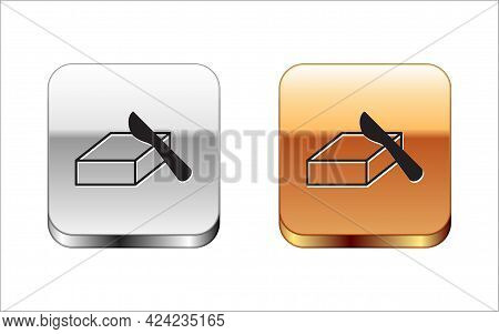 Black Butter In A Butter Dish Icon Isolated On White Background. Butter Brick On Plate. Milk Based P