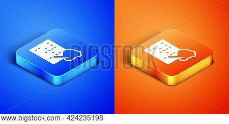 Isometric Braille Icon Isolated On Blue And Orange Background. Finger Drives On Points. Writing Sign