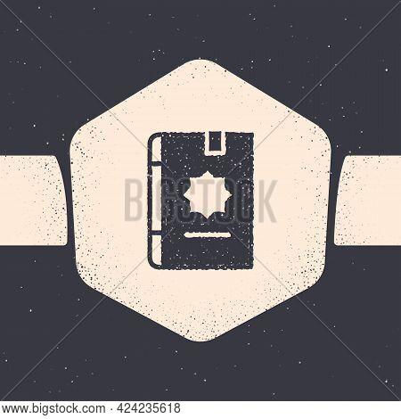Grunge Holy Book Of Koran Icon Isolated On Grey Background. Muslim Holiday, Eid Mubarak, Eid Al-fitr