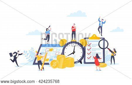 Time Is Money Or Saving Money Business Concept. Tiny People Working With Clock, Calendar Schedule An