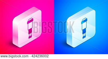 Isometric Spyglass Telescope Lens Icon Isolated On Pink And Blue Background. Sailor Spyglass. Silver