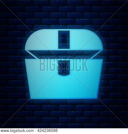 Glowing Neon Antique Treasure Chest Icon Isolated On Brick Wall Background. Vintage Wooden Chest Wit