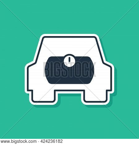 Blue Gas Tank For Vehicle Icon Isolated On Green Background. Gas Tanks Are Installed In A Car. Vecto