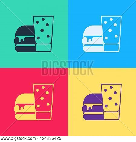 Pop Art Burger Icon Isolated On Color Background. Hamburger Icon. Cheeseburger Sandwich Sign. Fast F