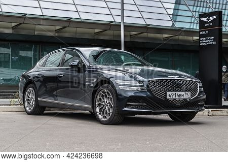 Moscow, Russia - June 2021: Premium Car Genesis G80 Parked Near The Moscow City Business Center.