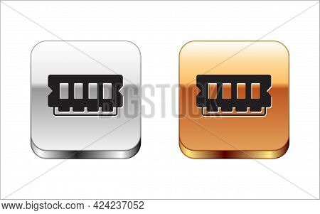 Black Ram, Random Access Memory Icon Isolated On White Background. Silver And Gold Square Buttons. V