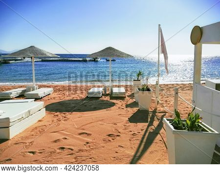 View Of Some Beds In A Beautiful Beach Club In A Sand Beach In Sharm El Sheikh, Egypt. Passage To Th