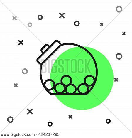Black Line Glass Jar With Candies Inside Icon Isolated On White Background. Vector