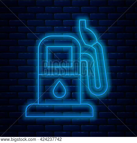 Glowing Neon Line Petrol Or Gas Station Icon Isolated On Brick Wall Background. Car Fuel Symbol. Gas