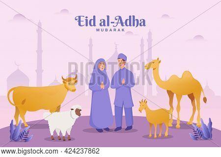 Eid Al Adha Greeting Card. Couple With Sacrifice Animal Celebrating Eid Al Adha With Mosque As Backg