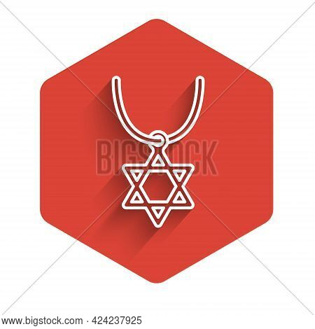White Line Star Of David Necklace On Chain Icon Isolated With Long Shadow. Jewish Religion Symbol. S