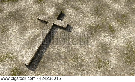 Concept or conceptual gray stone cross on a vintage grungy stone background. 3d illustration metaphor for God, Christ, Christianity,  religious, faith, holy, spiritual, Jesus, belief or resurection