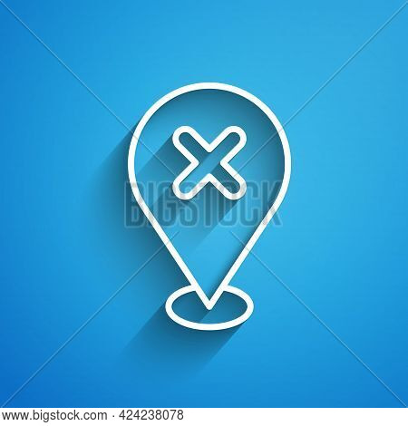 White Line Map Pin With Cross Mark Icon Isolated On Blue Background. Navigation, Pointer, Location,
