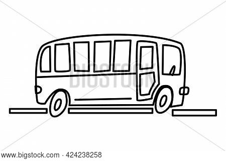 A Bus Drawn By Hand With A Contour. Contour Drawing, Icon