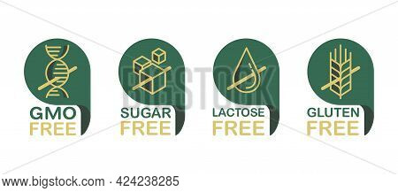 Lactose Free Flat Pictograms Set, Sugar Free, Gluten Free, Gmo Free. Pictograms For Food Packaging D