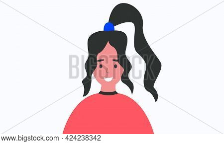 Vector Profile Avatar, Female Avatar For Game, App, Portfolio, Work, Isolated On White Background