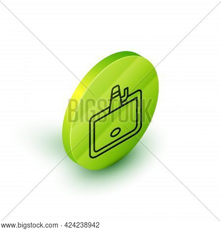 Isometric Line Washbasin With Water Tap Icon Isolated On White Background. Green Circle Button. Vect