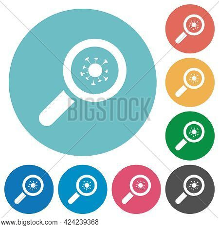 Covid Inspection Flat White Icons On Round Color Backgrounds