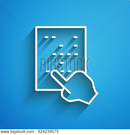 White Line Braille Icon Isolated On Blue Background. Finger Drives On Points. Writing Signs System F