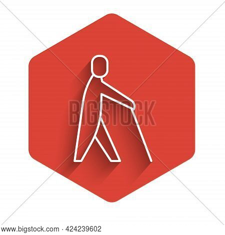 White Line Blind Human Holding Stick Icon Isolated With Long Shadow. Disabled Human With Blindness.