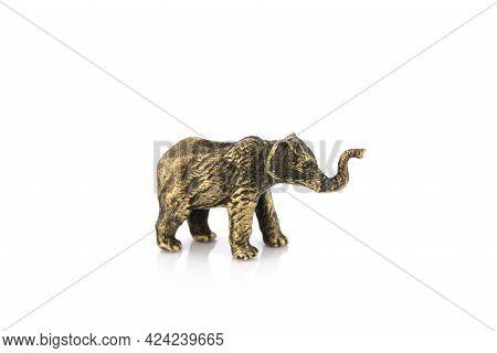 Elephant Vintage Antique Grunge Bronze Brass Figurine Statue Of Beautiful Animal, Isolated On White