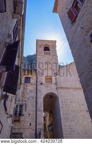 Montenegro. Old Town Of Kotor, Unesco-world Heritage Site. View Of St. Francis Monastery Tower
