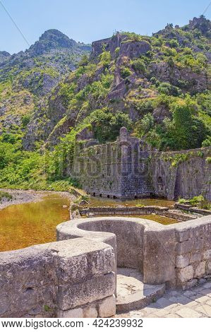 Ancient Fortifications. Montenegro. Fortress In Old Town Of Kotor - Unesco World Heritage Site. Nort