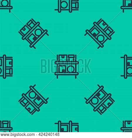 Blue Line Warehouse Interior With Boxes On Racks Icon Isolated Seamless Pattern On Green Background.